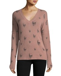 360 Sweater Emmett V Neck Cashmere With Skull Print Pink Pattern
