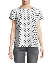 Cynthia Steffe Equator Dot Flutter Sleeve Top White