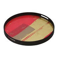 Notre Monde Raspberry Abstract Tray Round Small