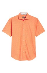 Bugatchi Freehand Shaped Fit Sport Shirt Tangerine