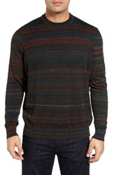 Thomas Dean Men's Stripe Merino Wool Sweater Green