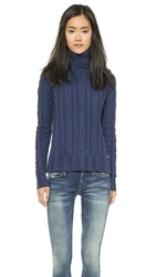 Banjo And Matilda Surfer Cable Knit Cashmere Sweater Yale Blue