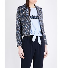 Claudie Pierlot Caprice Floral Print Leather Biker Jacket Marine