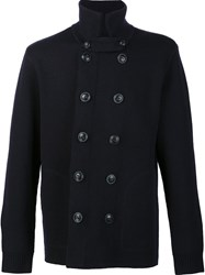 Vince Double Breasted Knit Jacket Blue