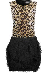 Red Valentino Redvalentino Leopard Print Satin And Faux Feather Embellished Crepe Mini Dress Leopard Print