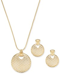 Charter Club Gold Tone Textured Disc Pendant Necklace And Drop Earrings Set 17 2 Extender Created For Macy's