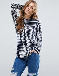 Asos Oversized Striped Long Sleeve T Shirt Navy White Multi