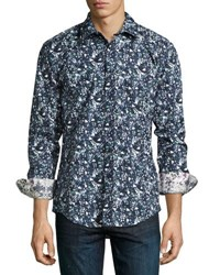 1 Like No Other Floral Print Button Front Shirt Navy