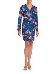 Amanda Uprichard Floral Printed Sheath Dress Blue Multi