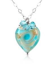 House Of Murano Vortice Turquoise Murano Glass Swirling Heart Sterling Silver Necklace