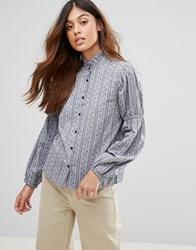 Qed London Shirt With Frill Collar Navy