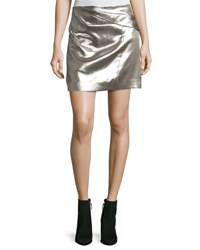 Halston Faux Wrap Draped Metallic Miniskirt Metallic Fog