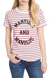South Parade Jackie Martinis And Manolos Tee White Red Stripe