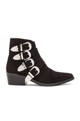 Toga Pulla Suede Buckled Booties In Black