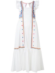 Temperley London Embroidered Flared Dress Women Cotton 12 White