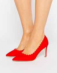 London Rebel Scallop Detail Court Shoe Red