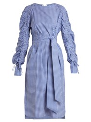Teija Tie Waist Gingham Cotton Dress Blue White