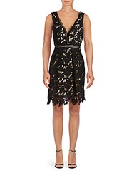 Romeo And Juliet Couture Floral Lace V Neck Sleeveless Dress Black Nude