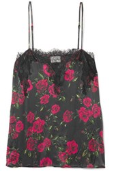 Cami Nyc The Sweetheart Lace Trimmed Floral Print Silk Charmeuse Camisole Red