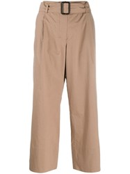 Max Mara 'S Belted Straight Leg Trousers Neutrals