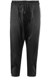 Olympia Activewear Alix Cropped Striped Silk Satin Track Pants Black