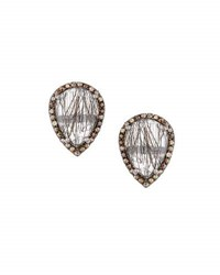 Bavna Rutilated Quartz And Diamond Button Earrings Black