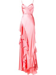 Gucci Ruffle Slip Gown Pink And Purple