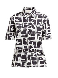 La Doublej Clerk Tribal Print Short Sleeved Cotton Shirt Black Print