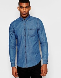 Pull And Bear Pullandbear Denim Shirt Blue