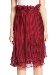 Romance Was Born Two Tiered Pleated Skirt Maroon