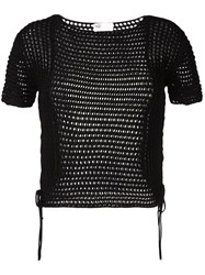 Red Valentino Cropped Knitted Top Black
