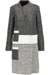 Proenza Schouler Asymmetric Woven Leather Coat Black