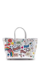 Anya Hindmarch Ebury Small Allover Wink Stickers Tote Silver
