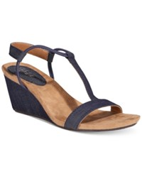 Style And Co Mulan Wedge Sandals Only At Macy's Women's Shoes Indigo Denim