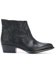 Buttero Pointed Ankle Boots Leather Black