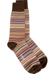 Paul Smith Woven Stripe Socks Nude And Neutrals