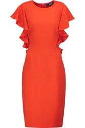 Noir Sachin And Babi Sabina Ruffled Crepe Dress Bright Orange