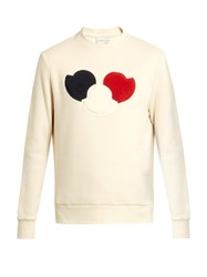 Moncler Logo Applique Cotton Blend Jersey Sweatshirt Cream