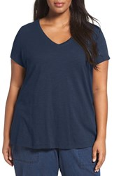 Eileen Fisher Plus Size Women's Organic Slub Cotton Jersey Tee Denim