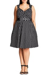 City Chic Plus Size Women's Pin Up Belted Spot Print Dress