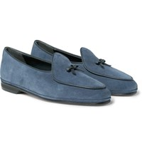 Rubinacci Marphy Leather Trimmed Suede Loafers Indigo