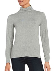 Calvin Klein Turtleneck Jersey Knit Top Heather Granite