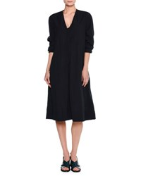 Tomas Maier Airy Long Sleeve Tie Front Dress Navy