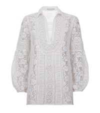 Alice Olivia Jill Embroidered Lace Peasant Top Female Ivory