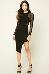 Forever 21 Asymmetrical Mesh Panel Dress Black
