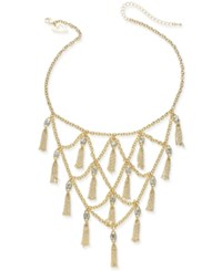 Thalia Sodi Gold Tone Crystal And Chain Fringe Statement Necklace Created For Macy's