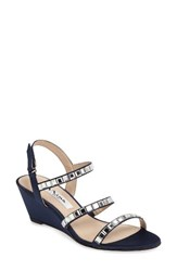 Nina Women's Naleigh Strappy Wedge Sandal New Navy Satin
