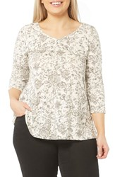 Evans Plus Size Women's Chintz Print Crepe Top Ivory