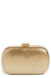 Whiting And Davis Mesh Oval Minaudiere Metallic Gold