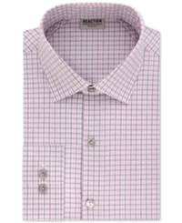 Kenneth Cole Reaction Men's Slim Fit Stretch Check Dress Shirt Cameo
